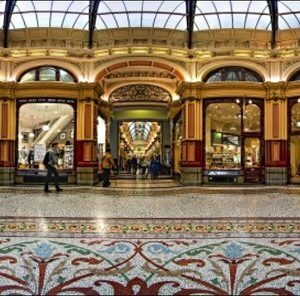 The Block Arcade Melbourne in panorama style.