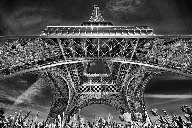 Wide angle view of the most iconic Paris piece of architecture.