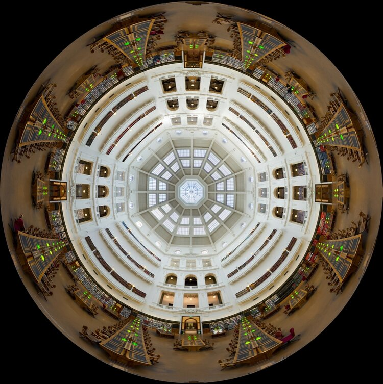 State Library Melbourne Reading room in full panorama looking up.