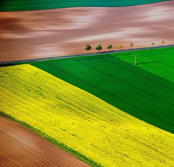 Aerial image of rolling Champagne landscape.